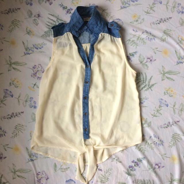 Sheer top with denim collar