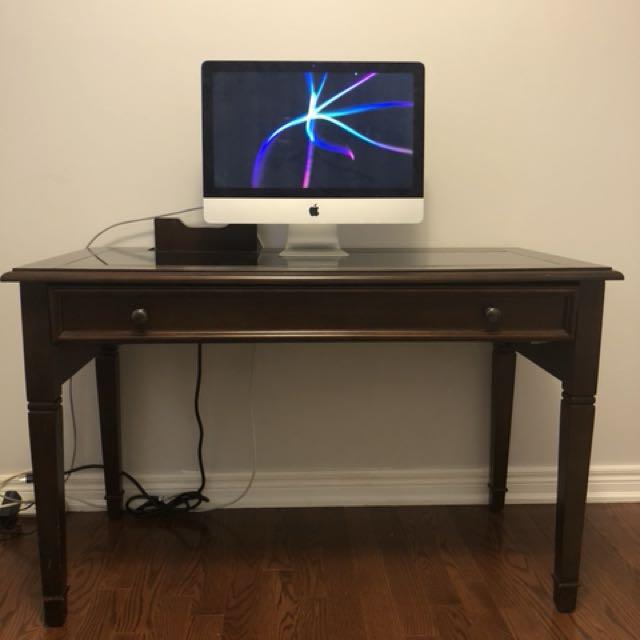 Solid wood USB port computer desk for sale