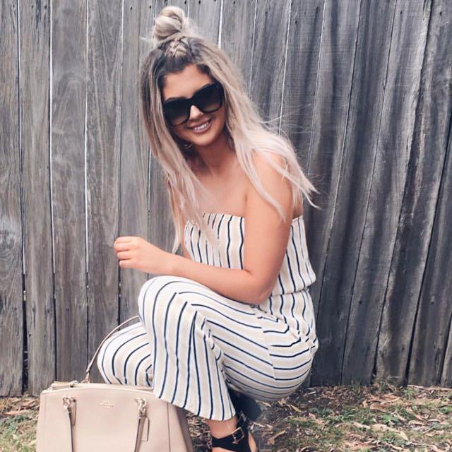 Stripe strapless jumpsuit