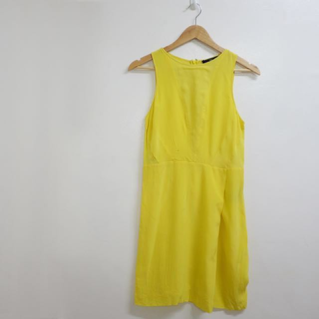 Tibi Yellow Silk Dress