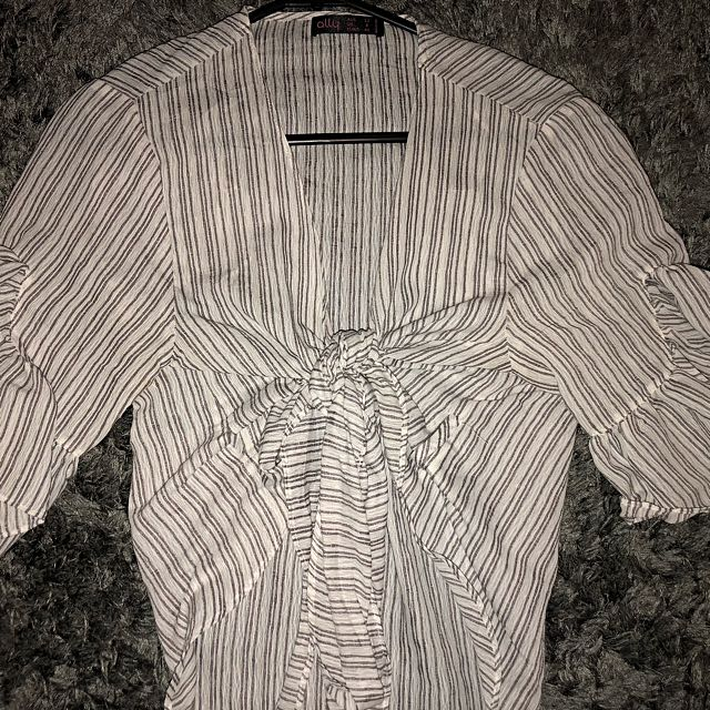Tie up white and grey stripped shirt