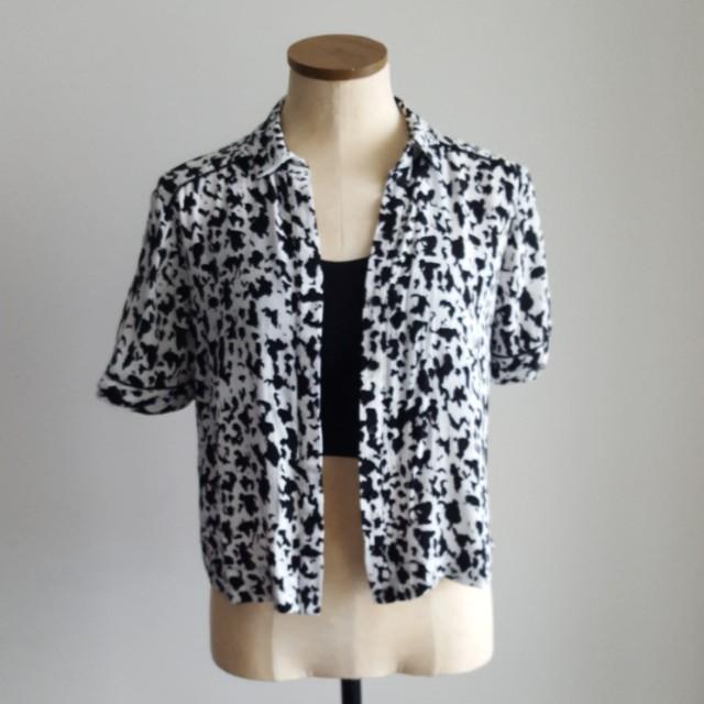 Topshop Black & White Blouse