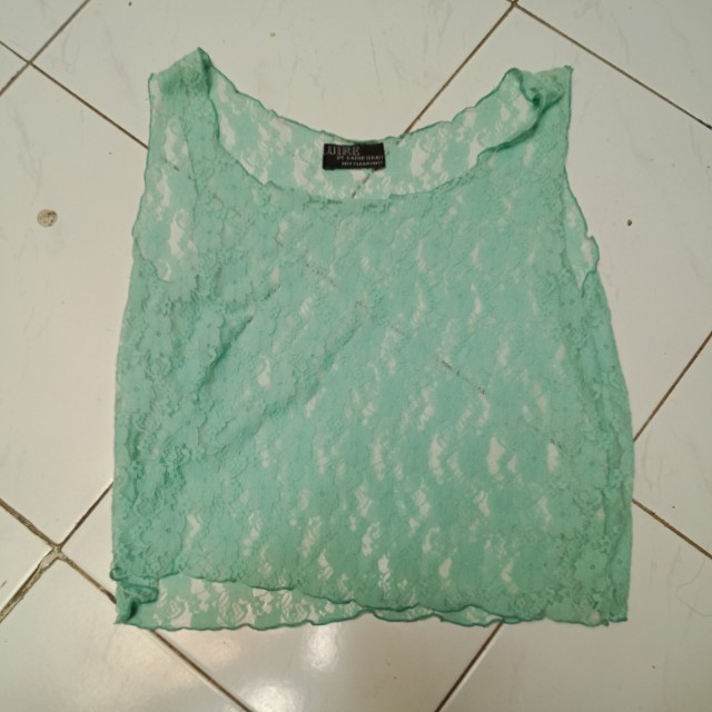 Turquoise Lace Tank Top