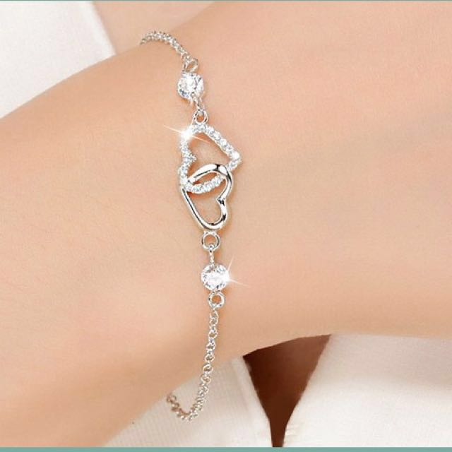 Valentine Gift 925 Silver Bracelet Birthday Girlfriend Womens Fashion Jewellery On Carousell