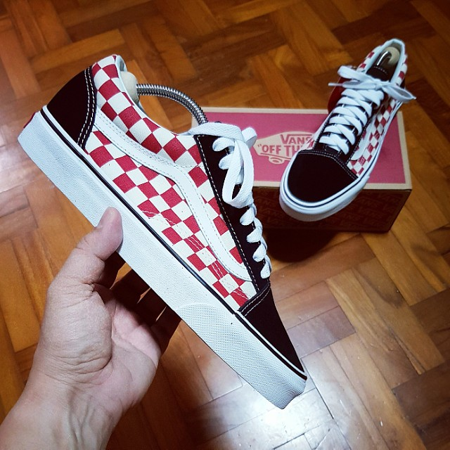 d2186bc45e VANS Old Skool Checkerboard Red Black US8