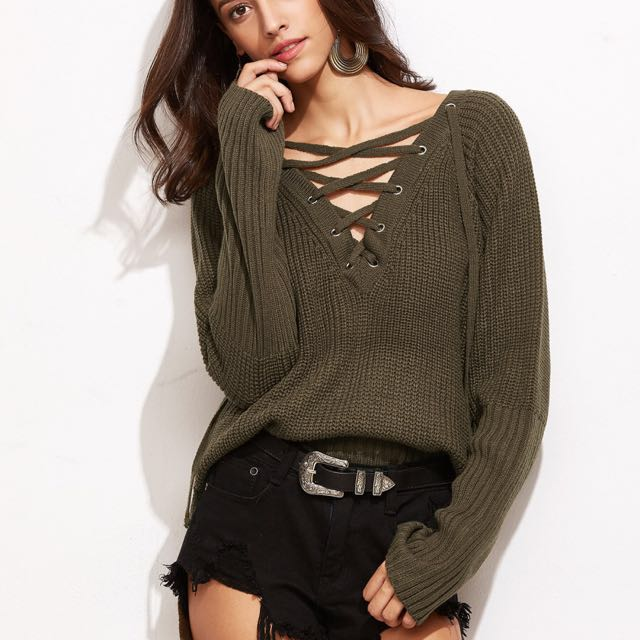 V-neck High Low Sweater