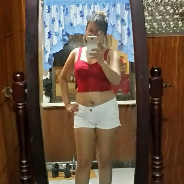 White shorts and maroon crop top (pair) Can also be sold separately