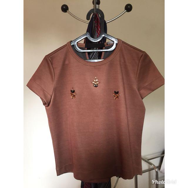 Zara Beaded Crop Top - Bronze