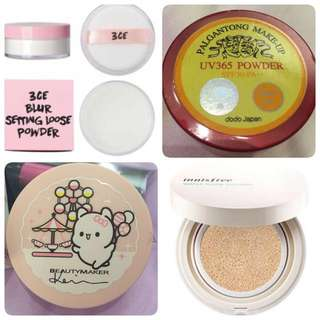 3CE Blur Setting Loose Powder /  / Beautymaker Matte Cushion in limited edition Keke packaging Shade Ivory / Innisfree Water Glow Cushion Shade 13 / Foundation