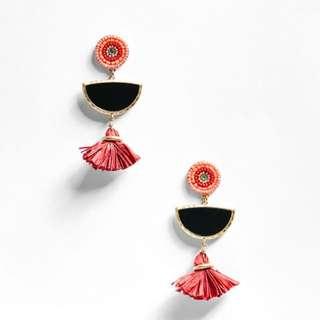 🆕 Bershka Brooch Earrings with Mini Tassel