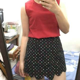 1 set Red and Polkadot Skort