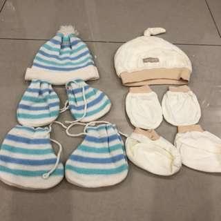 2 Set Baby Cap, Mittens & Booties