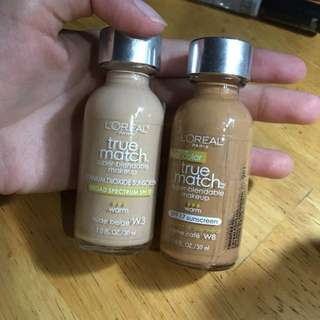 Loreal True Match Foundation in W3 and W8