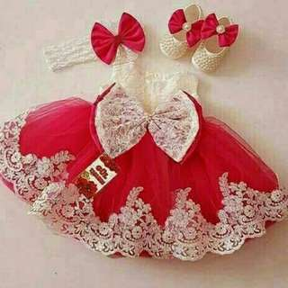 KIDS DRESS PRINCES MERAH
