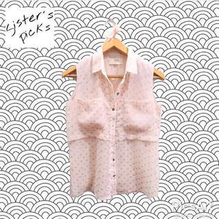 (X)SML Pink Polkadot Top