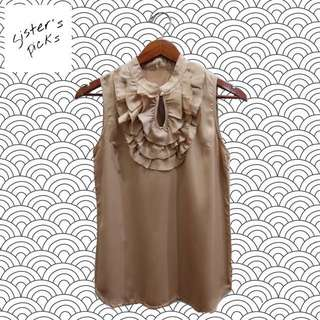 Gold Top With Ruffles Details