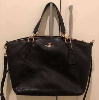 Coach black pebbled leather Kelsey satchel s/m