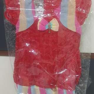 Red Ribbon Kids Dress plus Long Red Pant