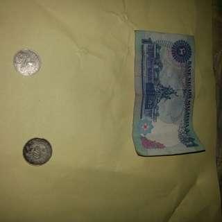 satu ringgit lama malaysia & duit lama singapore