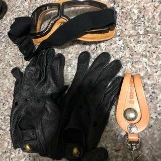Vintage cafe racer motorbike glove , goggle , keychain