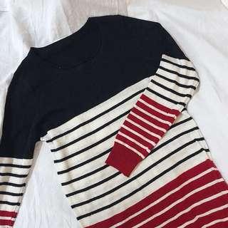 拼接條紋針織衣