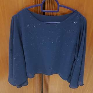 Glittery Midnight Blue Bell Sleeve top