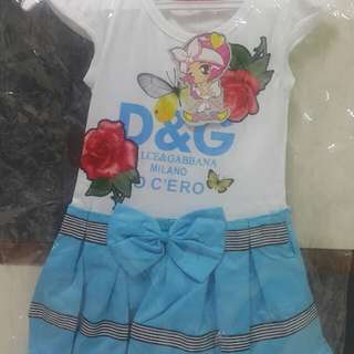 Blue with Red Rose Baby Dress