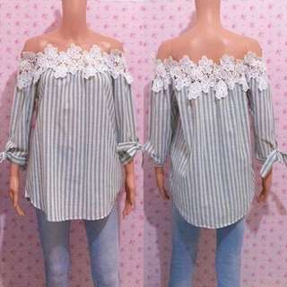 Vertical Stripes Off Shoulder Top