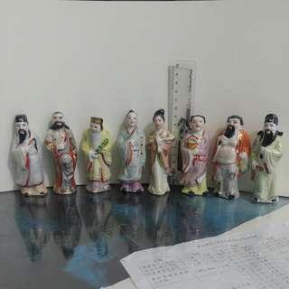 舊八仙小型瓷器擺件