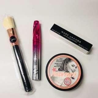 Marc Jacobs & Bare Minerals mascara, Soap&Glory bronzer, Sigma contour brush