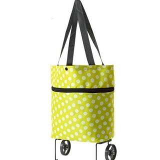 ❤ Mommy's Foldable and Reusable Trolley Shopping /Grocery Bag ( Green - Polka dots)