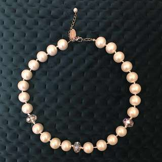 Classy Glass Pearl Necklace with Iridescent Beads