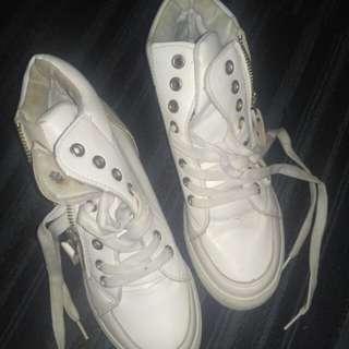 sneaker wedges white