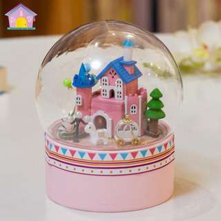 DIY rotating miniature musical box with lights - New Swan Lake Castle