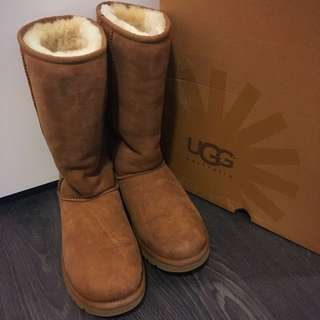 UGH CLASSIC TALL BOOT IN CHESTNUT SIZE US7
