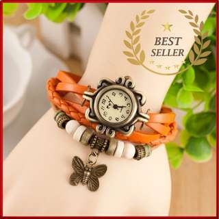 ORANGE - Fashion Weave Leather Charms Watches Women Quartz Wrist Watches Pendants Wing Butterfly Heart Eiffel Tower Starfish Moon Crown.- CASH ON DELIVERY!