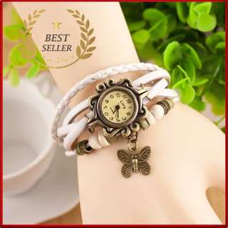 WHITE - Fashion Weave Leather Charms Watches Women Quartz Wrist Watches Pendants Wing Butterfly Heart Eiffel Tower Starfish Moon Crown.- CASH ON DELIVERY!