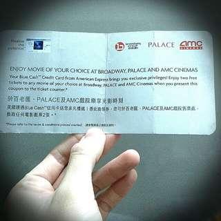 二張百老匯Broadway AMC Palace 戲票2張 cinema ticket