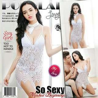 Lingerie Seksi Gstring Putih Anggun Berkualitas Premium Piyama Pakaian Dalam Baju Tidur Hot