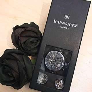 (全新)Earnshaw 經典男裝名牌碗錶連袖口鈕禮盒套裝