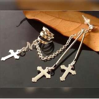 -十字架耳環連耳骨夾-
