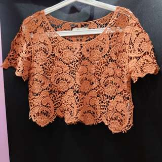 outer lace crop tee orange