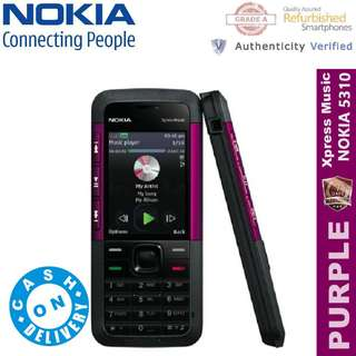 Original Nokia 5310 Xpress Music  Refurbished Unlocked Bar Phone ( PURPLE ) - CASH ON DELIVERY!