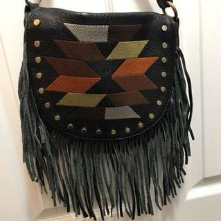 Leather fringe boho / festival crossbody bag