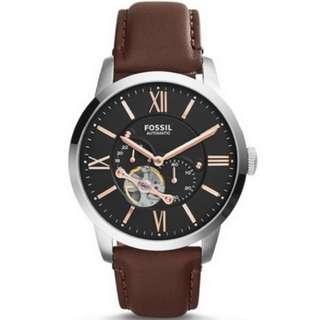 FOSSIL美國品牌Townsman Automatic系列復古紳士機械腕錶-咖啡皮帶 ME3061