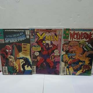 4 #1 1997 Marvel Comics FLASHBACK ( Wolverine, X-men & Spectacular Spider man