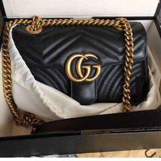 Gucci gg marmont 黑色斜咩袋 small size 22 cm