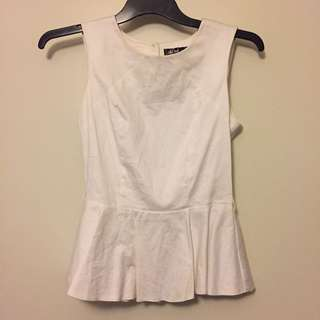 White peplum with open back
