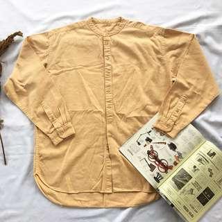 🌴淺橘色復古無領長袖襯衫 亨利領 男女皆可Vintage 古著老品