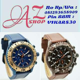 Jam Tangan Pria Christ Verra 80019G Blue Leather Kulit Original Murah